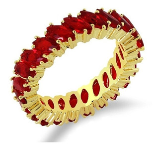 Aliança Anel Vermelho Rubi Zirconia Folheado Ouro 18k