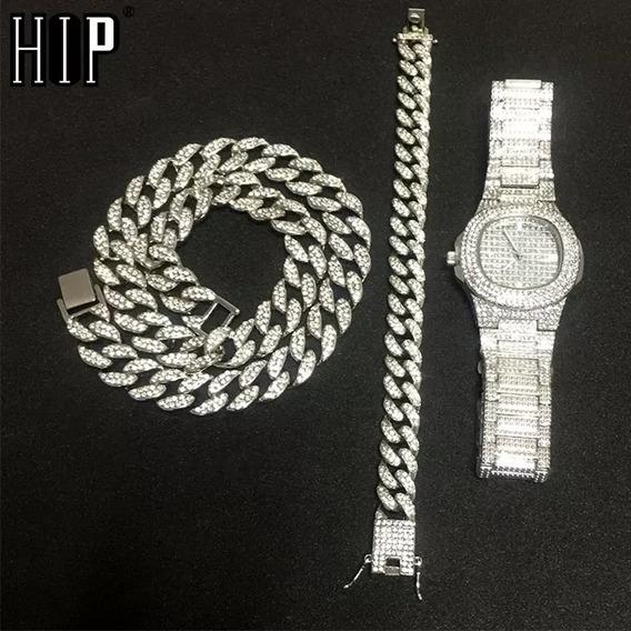Relógio Cravejado+pulseira+colar