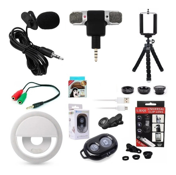 Acessórios Para Filmagem Kit Youtuber Microfone Celular Sma