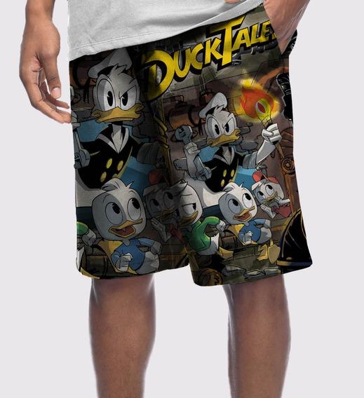 Bermuda Shorts Microfibra Cartoon Gibi Quadrinhos Patinho Huguinho Zezinho Luizinho Tio Patinhas Disney Pato Swag
