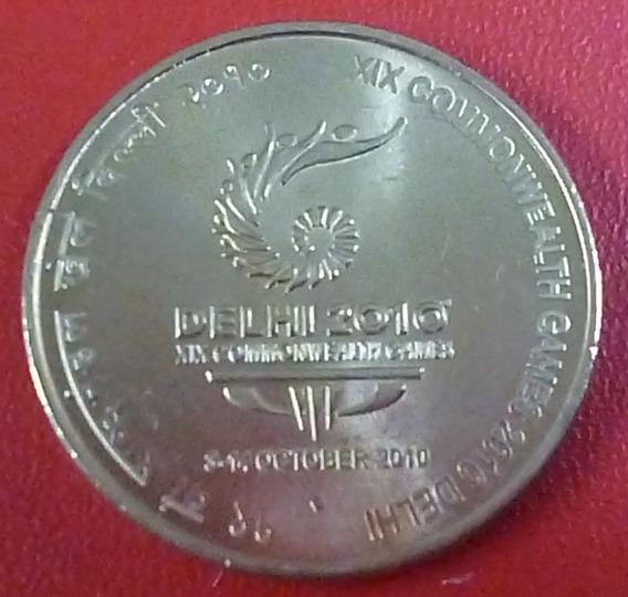 India Moneda Aniv. Juegos De La Mancomunidad 5 Rupias 2010