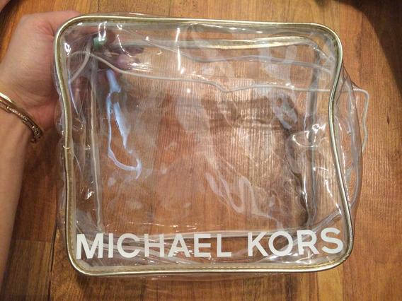 Bolsa Estuche Neceser Michael Kors Mk Transparente Grande!!