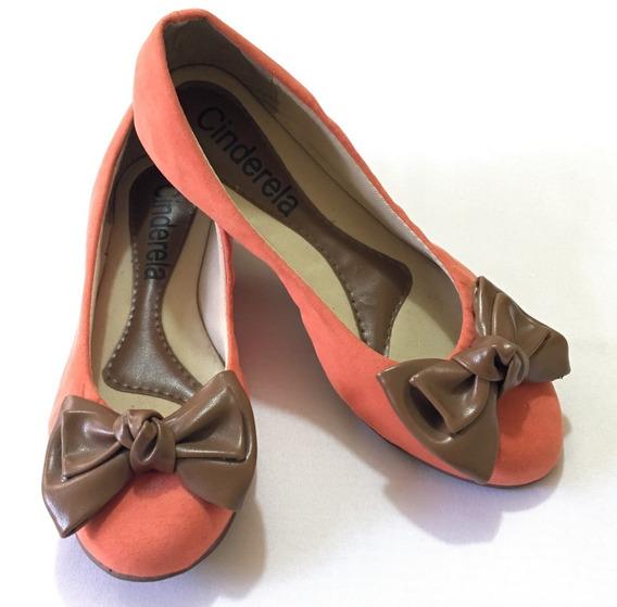 Sapatilha Sapato Calçado Feminino - Laranja Com Laço