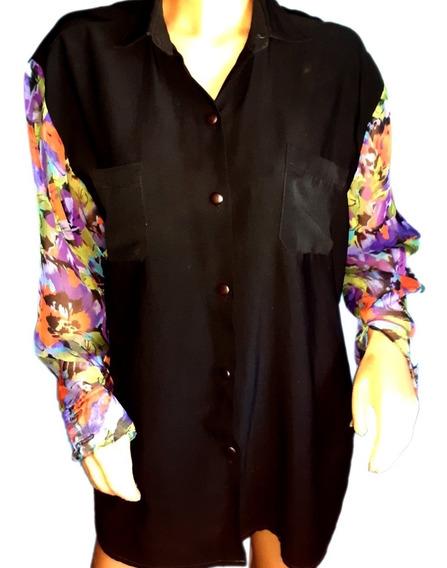 Camisa Verano Mangas Diseño En Seda Natural...talle Xl