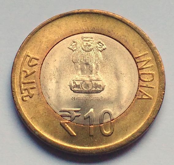 Moneda De India, 10 Rupees 2015. Sin Circular.