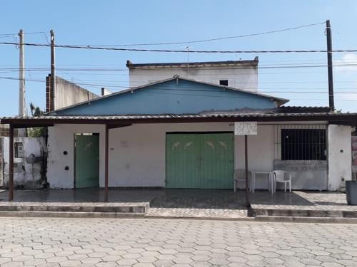 Casa Com Salão Comercial Em Rua Pavimentada Em Itanhaém - 0110-cs
