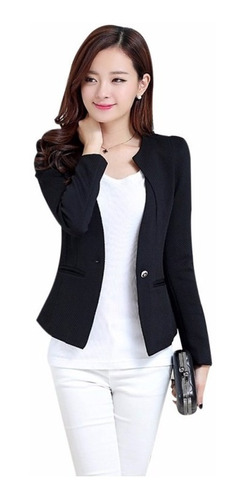 Blazer Negra Jacket Fashion Mujer Casual Slim Coat Outwear /
