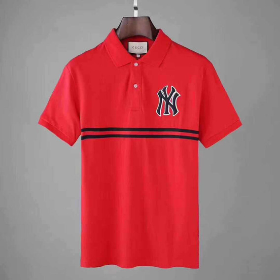 Playera Gucci Tipo Polo Con Bordado De Ny Yankees 100%algodo