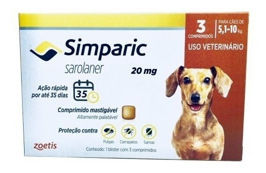 Simparic Preço Barato 20mg 5 A 10kg C/3 Comprimidos