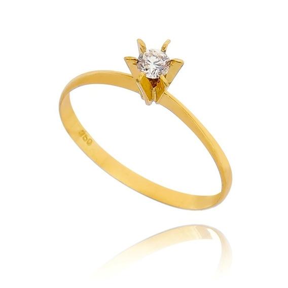 Anel De Noivado Em Pedra Zircônia - Em Ouro 18 K / 750