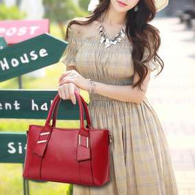 Bolsa De Couro 3 Bolsas Mojoyce Red Elegante Luxo Embroyder