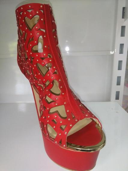 Zapatos De Fiesta Rojo Con Strass !! Envío Gratis!!