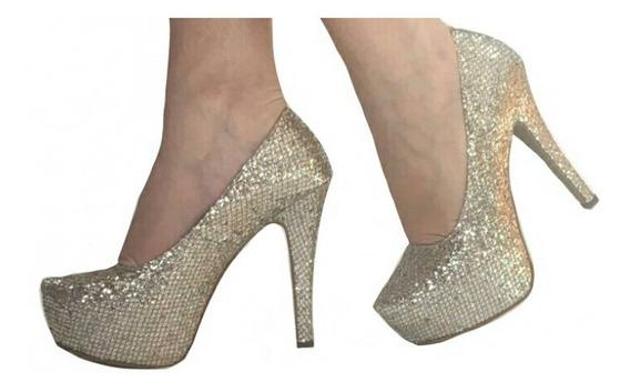 Sapato Salto Alto Meia Pata Glitter Brilho Dourado Prata