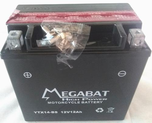 Imagen 1 de 1 de Batería Moto Cuatriciclo Jet Sky Megabat Ytx14 Bs 12v 12ah