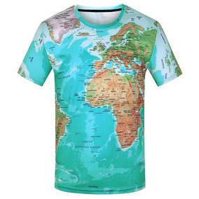 3d Mapa Impreso Corto Mangas T -camisa
