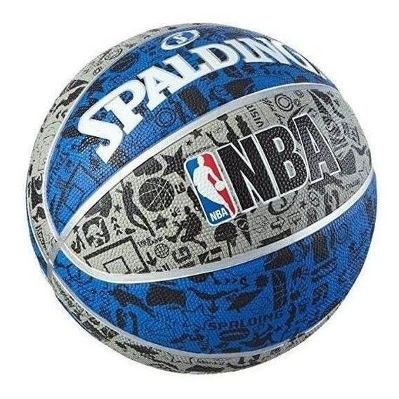 Balon Spalding Nba Graffiti Basquetbol No 7 Negro Azul