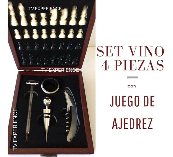 Set Accesorios Vino 4 Piezas + Juego Ajedrez Regalo Estuche Madera