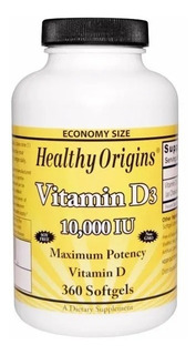 Vitamina D3 10,000 Ui 360 Softgels Healthy Origins