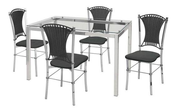 Conjunto De Mesa Com 4 Cadeiras Natália Corino Preto E Cr...