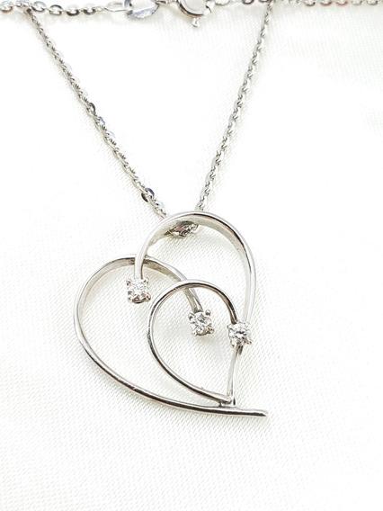 Gargantilha Coração De Ouro Branco Cravejado De Brilhantes