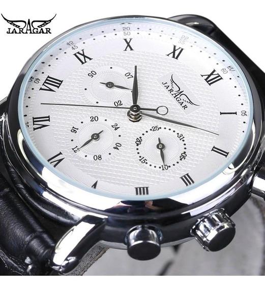 Calendário Jarajar Couro Strap Relógio Mecânico Masculino