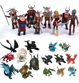 Bonecos Como Treinar Seu Dragão Kit 8 Vikings + 15 Dragões