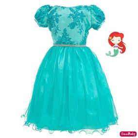Vestido Festa Infantil Pequena Sereia Ariel Luxo 4 A 16
