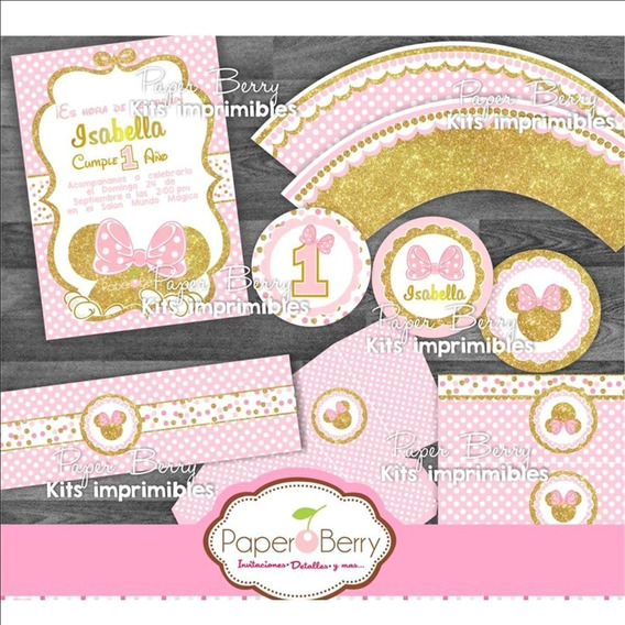 Kit Imprimible Candy Bar Minnie Mouse Dorada Editable