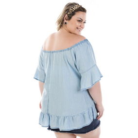 6f44c96a75 Blusa Feminina Jeans Ciganinha Molly Flare Plus Size Bvm217