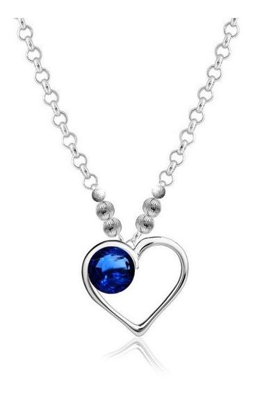 Collar Plata 925 Dije Cadena Y Bolitas Diamantadas Zafiro
