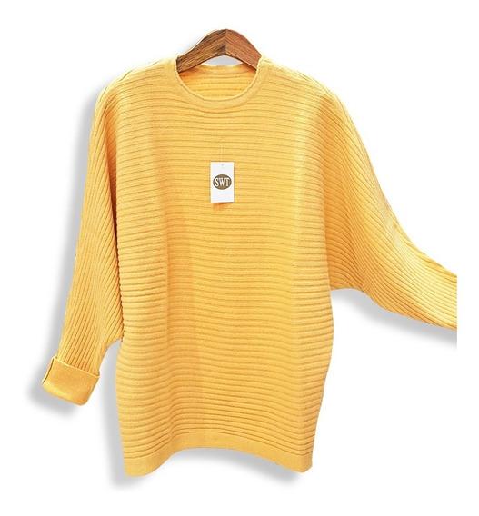 Sweater Ancho Manga Dolman Pullover Bremer Dama Pura Lana