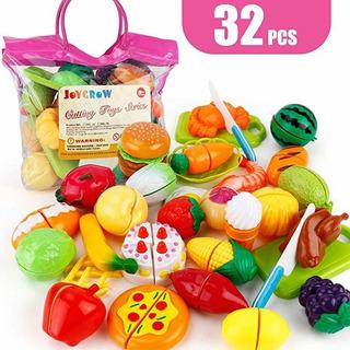 Joygrow 32pcs Cutting Toys Pretend Food Fruits Vegetable Pla