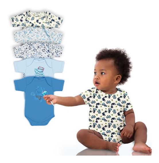 Kit 5 Bodys De Bebê Manga Curta Maxi Baby Menino