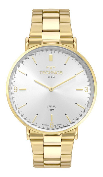 Relógio Technos Slim Masculino Dourado Safira 2025ltp/4k