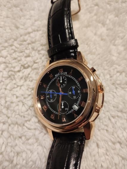 Relógio 2510 Megir Dourado E Preto