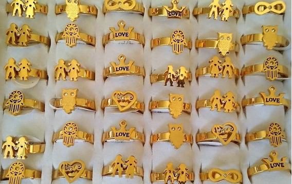 Atacado Cx Com 36 Anéis Dourado Ponta Dedo Banhado-ouro