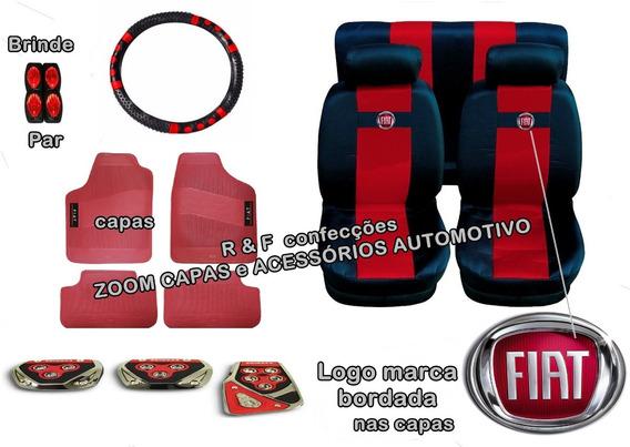 Kit Vermelho Capas Bancos Pedaleira Tapetes Uno Vivace 15