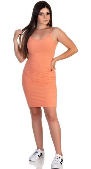 Vestido Feminino Malha Canelada Curto De Alcinha Em Promoção