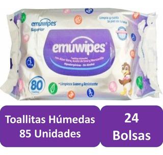 Toallitas Humedas 24 Bolsas 85 C/u Pack 170 Emuwipes Superio