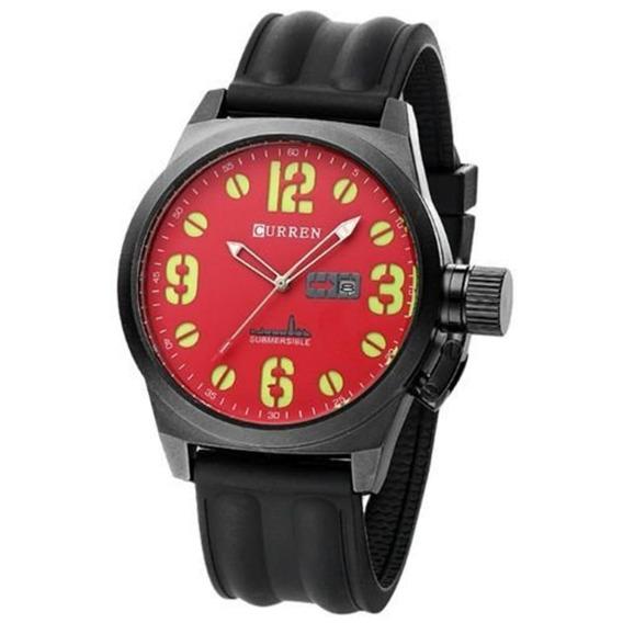 Relógio Masculino Curren 8127 Analógico Preto/vermelho C/ Nf