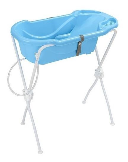 Banheira Ergonômica Banho Bebê Com Suporte E Mangueira Azul