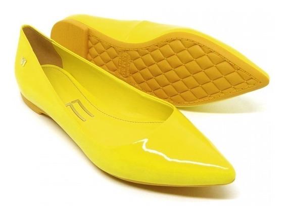 Sapatilha Amarela Bico Fino Verniz Amarelo Laço Confortável