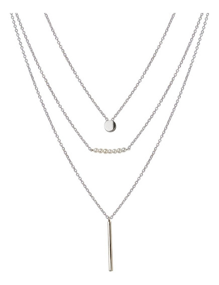 Collar Triple De Plata 925 Rodinada Y Perlitas Mod. 50030