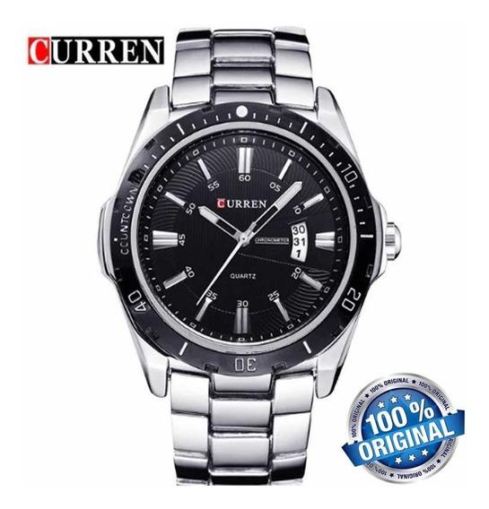 Relógio Curren 8110 Original Esporte Casual Prata De Luxo