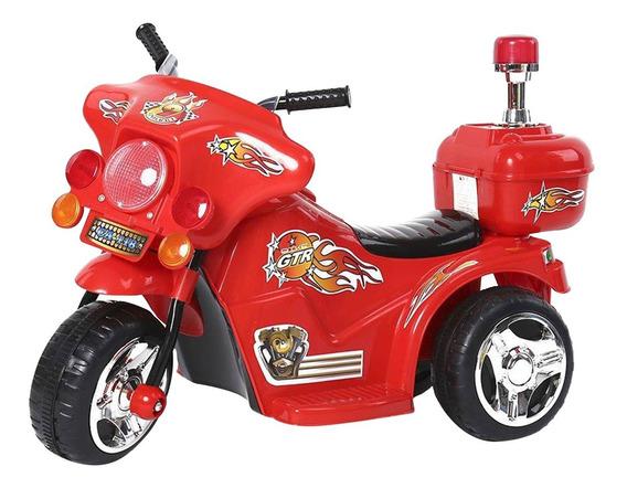 Mini Moto Elétrica Infantil Criança Vermelho Com Farol Sons