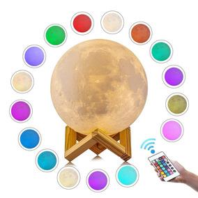 Luminária Lua Cheia 3d Abajur Usb/touch 18cm 16 Cor Controle