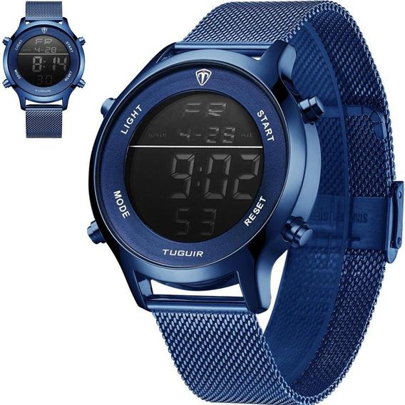 Relógio Masculino Tuguir Digital Azul Esportivo Militar Top