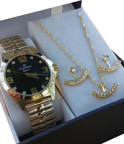 Kit Relógio Champion Feminino Dourado Cn27812k F. Gratis Nf.