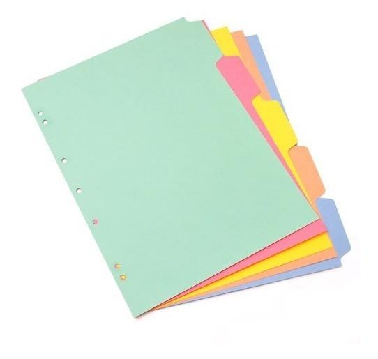 Separador Cartulina A4 De Colores Juego X5 Posiciones