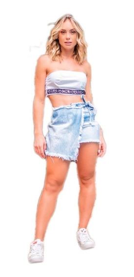 Short Saia Jeans Envelope Lançamento